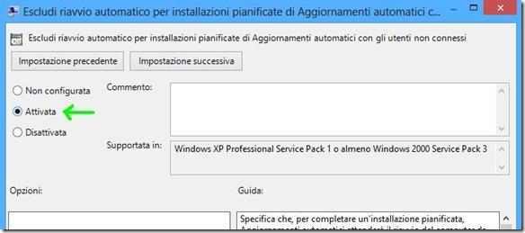 Windows 8 disattivare riavvio automatico dopo installazione aggiornamenti di Windows