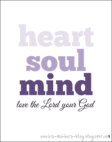 free printable love the lord your god purple