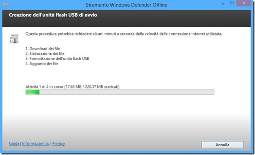 Windows Defender Offline creazione unità di avvio