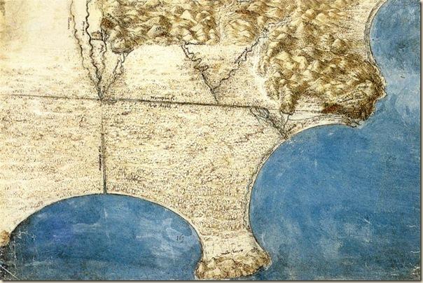 Carte des marais Pontini, Leonard de Vinci