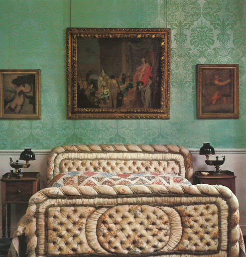 The Duke of Wellington's button-tufted silk brocade bed. Totally perfect.