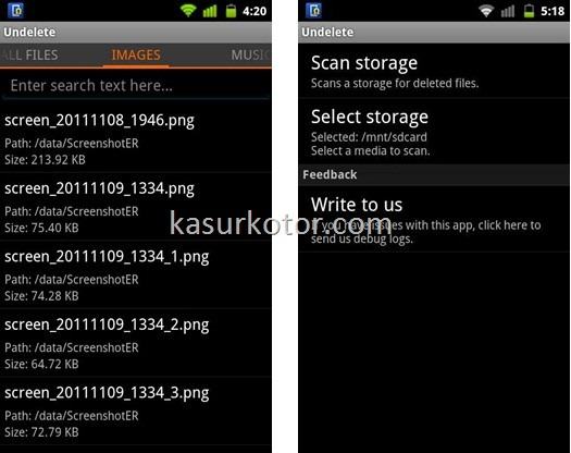 Undelte for Android, data recovery