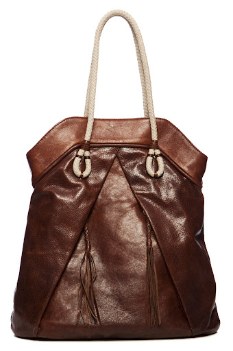 Perforated Open Weave Brown Tote