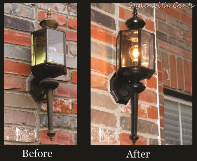 rustoleum oil rubbed bronze spray paint front light before after