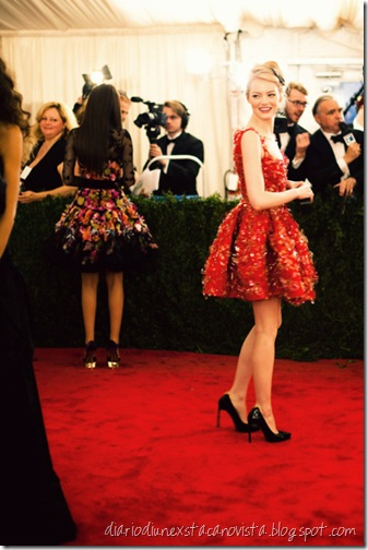 Emma Stone in Lanvin at Met Ball Gala 2012