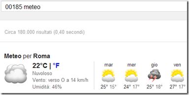 Trovare previsioni meteo con Google