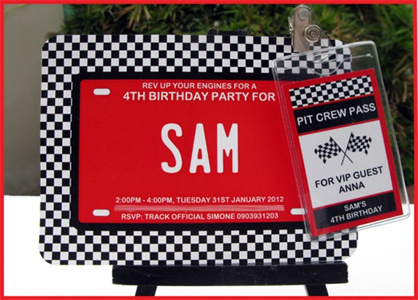 Car Birthday Party  Invitation