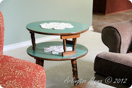 """mid-century modern two tiered table"", upcycled, ""Paint stain"", ""using paint as stain"", ""refinishing table"""