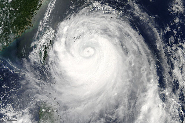 The Moderate Resolution Imaging Spectroradiometer (MODIS) on NASA's Aqua satellite acquired this image of Typhoon Soulik on 12 July 2013. Photo: NASA