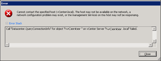 Adding ESX host to vCenter : QueryConnectionInfo Failed