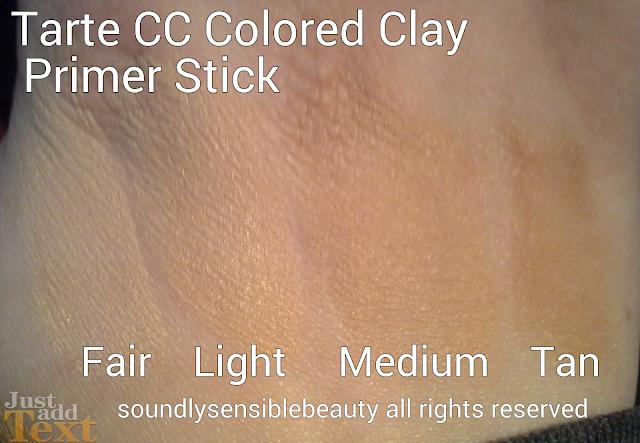 Tarte CC Colored Clay Primer Stick Review & Swatches of Shades Fair, Light, Medium, Tan,