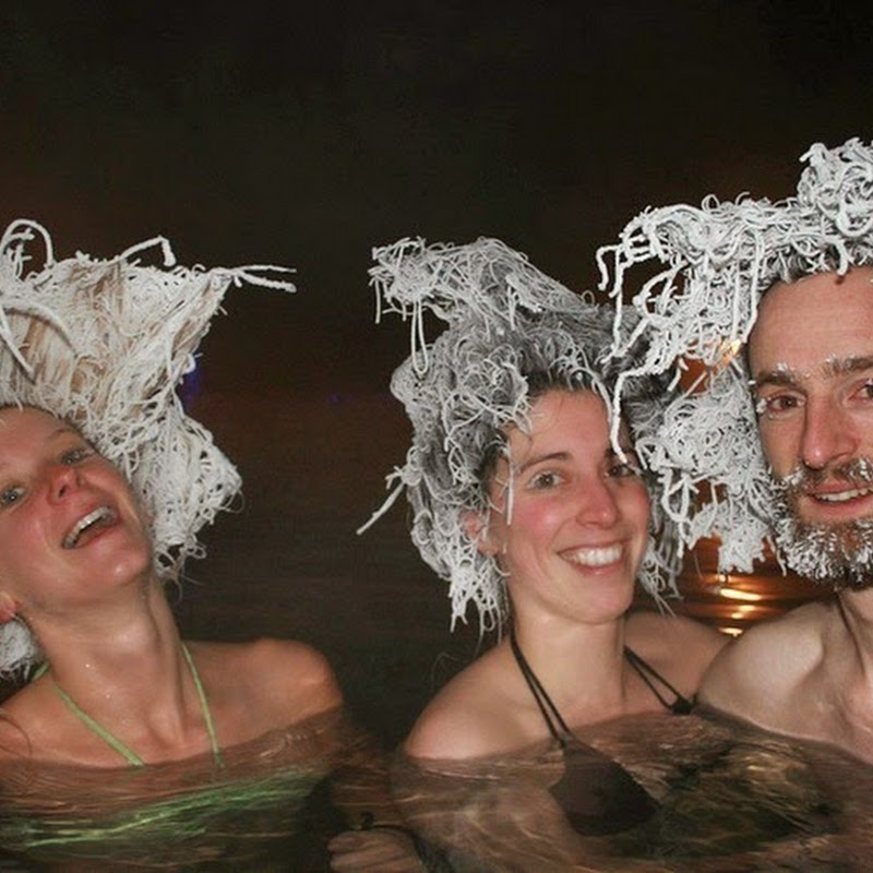 Takhini Hot Springs' Hair Freezing Contest