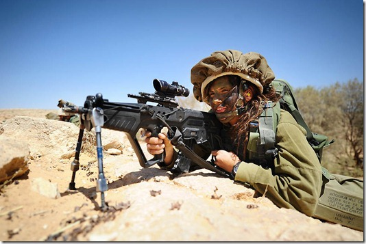 """""""Aiming"""". Soldiers of the Caracal co-ed battalion during a platoon exercise in southern Israel, 2012."""