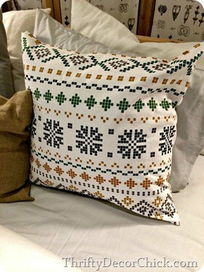 cross stitch snowflake pillow ikea