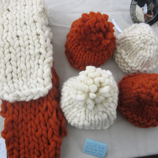 Knit hats and scarves from crafter Morgan Levine. http://amblethroughbramble.com/