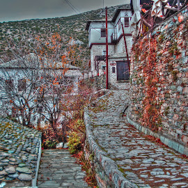 Makrinitsa by Stratos Lales - City,  Street & Park  Neighborhoods ( red, neighborhood, path, stone, traditional )