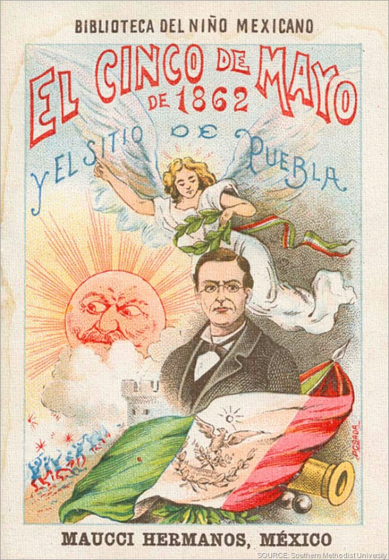 A Cinco de Mayo poster from 1901. CLICK to see more Mexican photographs and prints in the Southern Methodist University collection.