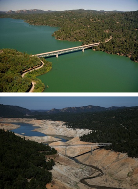 The Green Bridge over full water levels in Lake Oroville in July 2011 compared with the almost dry basin in 2014. 2011 Photo: Paul Hames / California Department of Water Resources