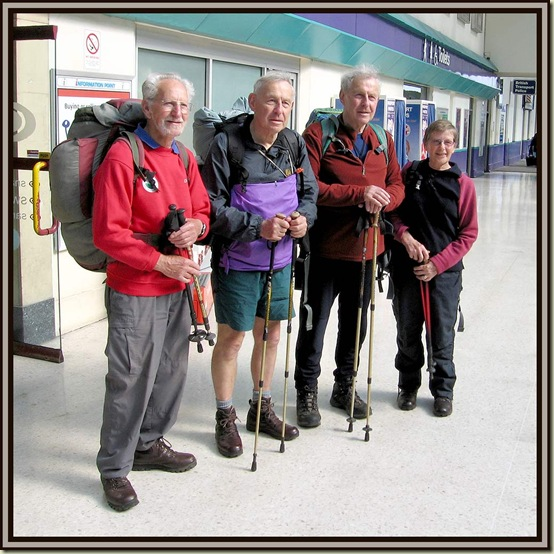 FRom R to L: Bernard Fowkes, John Towers, David Towers and Margaret Fowkes, at Inverness railway station on 8 May 2008