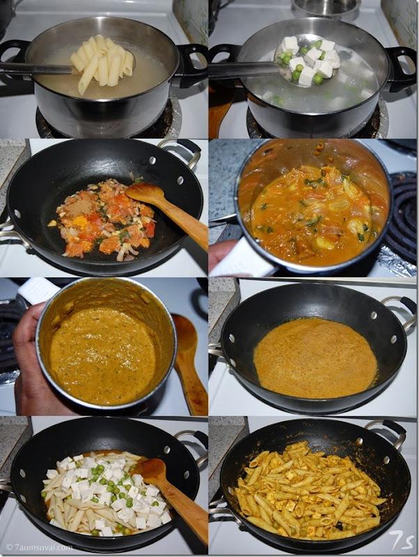 Paneer peas pasta process