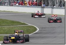 Vettel precede Hamilton e Alonso nel gran premio del Canada 2012