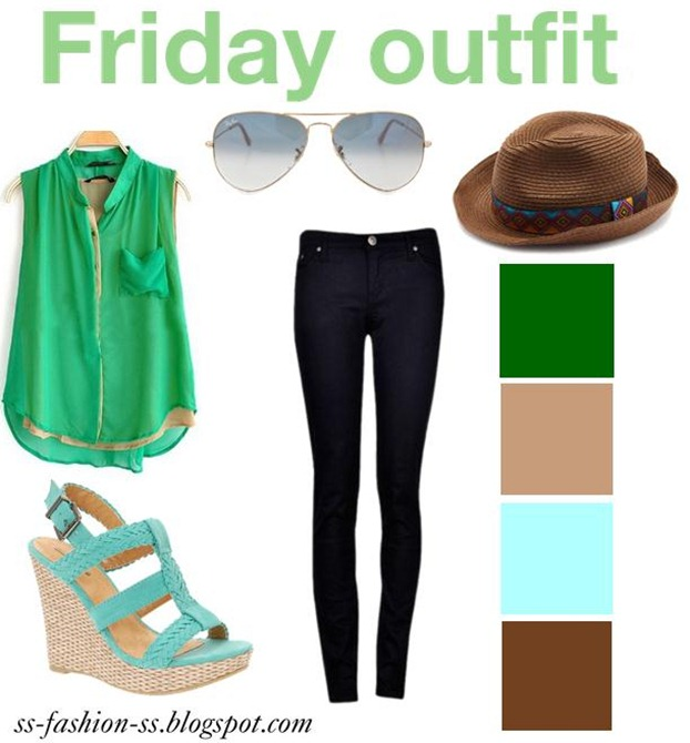 outfit-green-post-blogger-wedges-rayban-aviator-hat-tribal-blue-summer-fashion-hot