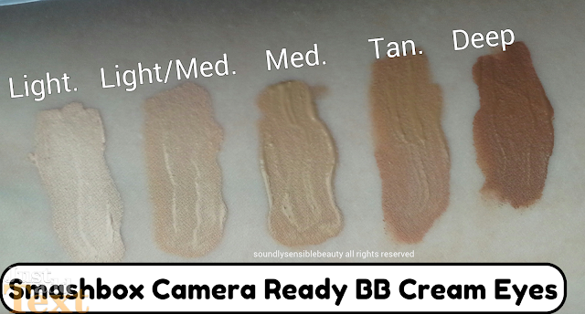 Smashbox Camera Ready BB Cream Eyes Beauty Balm Concealer SPF 15 Review Swatches of Shades Light Light/Med, Medium, Tan, Deep