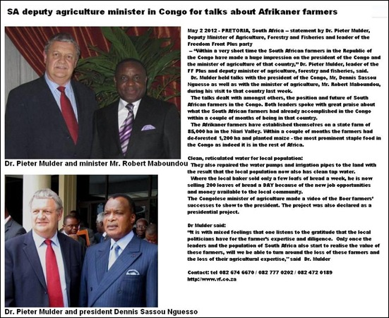 MULDER PIETER HOLDS TALKS WITH CONGO MINISTERS ABOUT AGRICULTURE