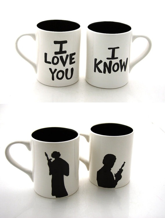 Star Wars Han Solo and Leia Mug Set from LennyMud