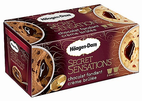 Haagen-Dazs ice cream Secret Sensations Chocolat Fondant and  Crème Brulee  mini cup twin pack