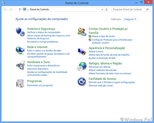 Novas opções foram adicionadas no Painel de Controle do Windows 8
