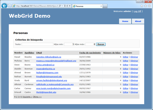 Criterios de filtro con Webgrid