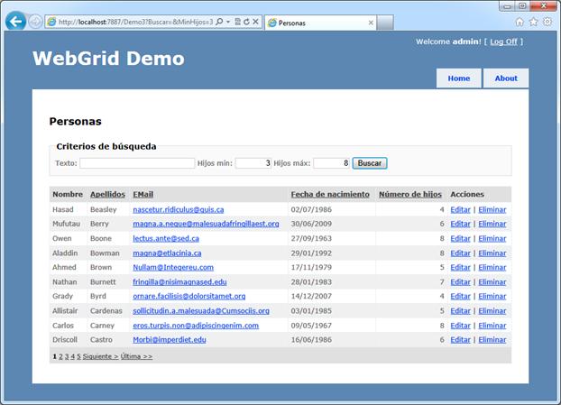 Criterios de filtro con Webgrid