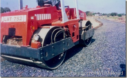 Compaction of WBM Road by Mechenical Road Roller