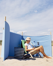 Don't let a stiff breeze chase you off the beach. Bring along a windscreen to protect yourself from gusts and blowing sand, as well as to enjoy a little surf-side privacy and shade. The oversize pocket on one of the screen
