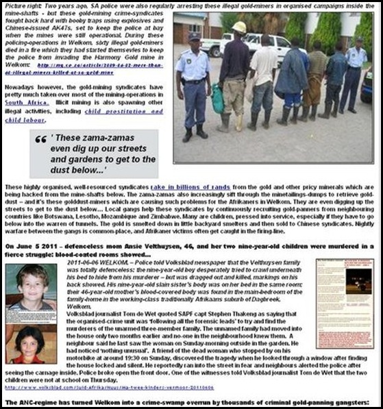 VELTHUYSEN FAMILY stabbed to death in Welkom mining town under siege from gold-hunting pirates called zama zamas