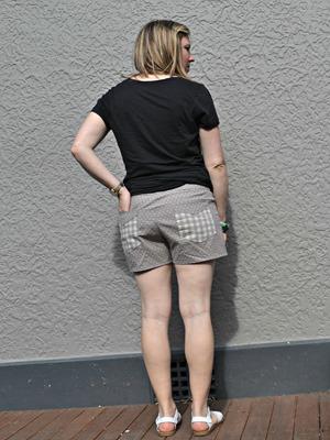 tan shorts back view
