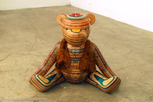 arte esculturas com skate reciclado desbaratinando  (42)
