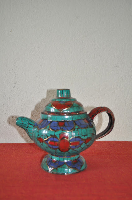 Copper Tea Kettle with Turquoise Stone