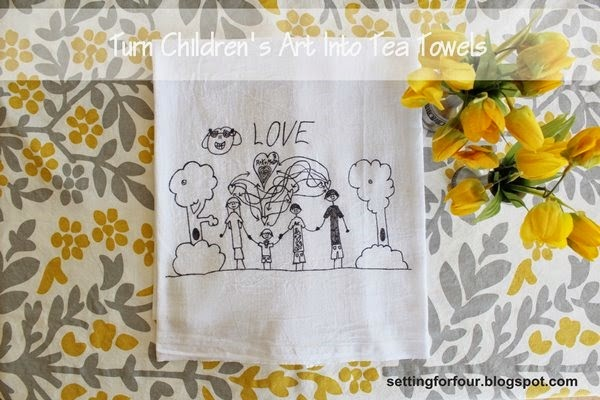 Kid's craft activity - tea towel decor idea