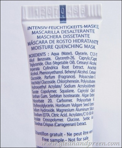 Thalgo Moisture Quenching Mask Ingredients