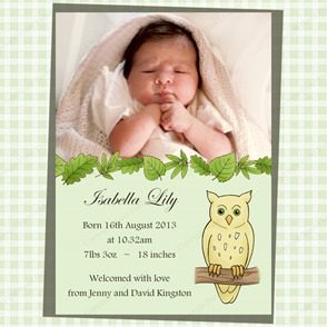BA004 woodland baby photo birth announcement owl 1