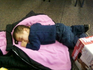 taking a nap at church