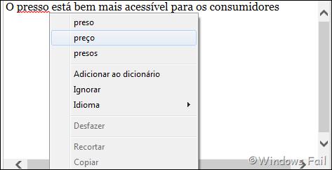 Internet Explorer 10 - Corretor ortográfico