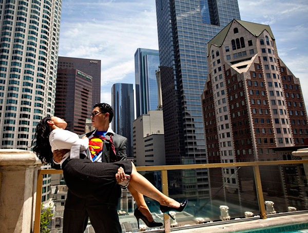 Engagement shoot Superman theme