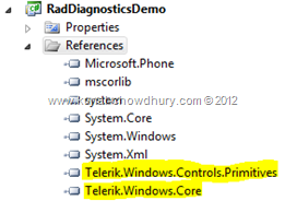 Telerik RadDiagnostics Component: Required Assemblies