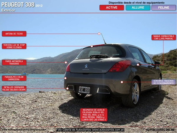 Peugeot 308 exterior. Vista trasera