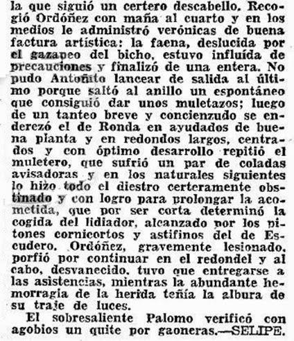 1956-06-21 (p. 22 ABC) Detalle cronica Selipe Cuarto toro cogida