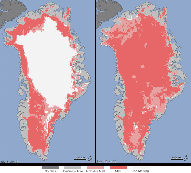 Extent of surface melt over Greenland's ice sheet on 8 July 2012 (left) and 12 July 2012 (right). Measurements from three satellites showed that on 8 July, about 40 percent of the ice sheet had undergone thawing at or near the surface. In just a few days, the melting had dramatically accelerated and an estimated 97 percent of the ice sheet surface had thawed by 12 July. Nicolo E. DiGirolamo, SSAI / NASA GSFC, and Jesse Allen, NASA Earth Observatory