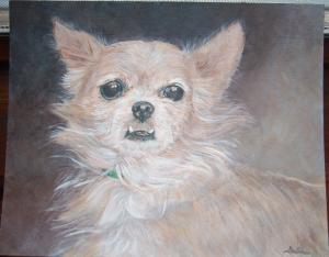 Look a the lovely portrait of Pickles that artist and DW reader Delia Pacheco made for me!